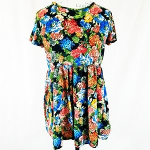 Forever 21 Floral Abstract Flowy Tunic Medium